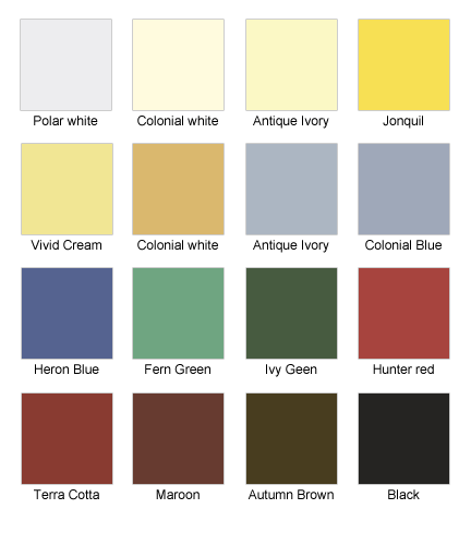 Estevez Aluminum product color options.