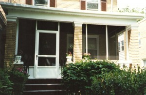 Old Washington, DC row house screened-in porch